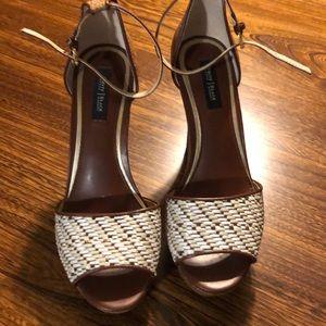 White House black market wedge heel sandal sz 8